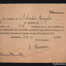 Sellos: ANTEQUERA- MALAGA. 0,10 PTAS, DIA SEMANAL SIN POSTRE,AÑO 1937, VER FOTO. Lote 61390619