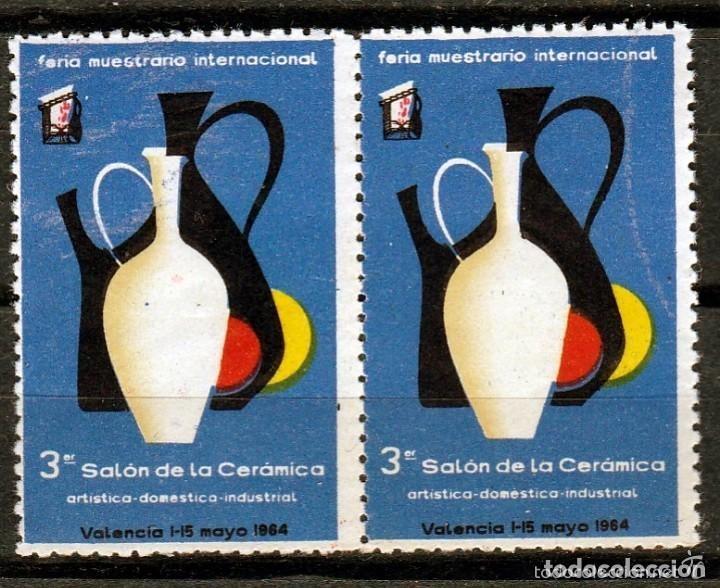 VALENCIA 1964. 3º SALON DE LA CERAMICA. PAREJA VIÑETAS **. MNH (Sellos - España - Guerra Civil - Viñetas - Usados)