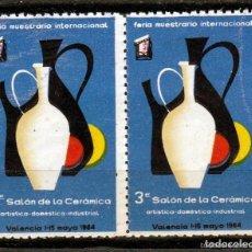 Sellos: VALENCIA 1964. 3º SALON DE LA CERAMICA. PAREJA VIÑETAS **. MNH. Lote 61656516