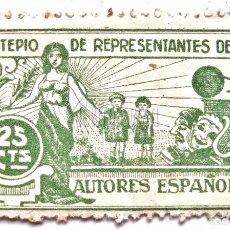 Sellos: SELLO MONTEPIO DE REPRESENTANTES DE LOS AUTORES ESPAÑOLES 25 CENTIMOS. Lote 62081904