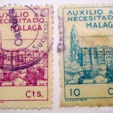 Sellos: 2 SELLOS AUXILIO NECESITADOS DE MALAGA. Lote 62614112