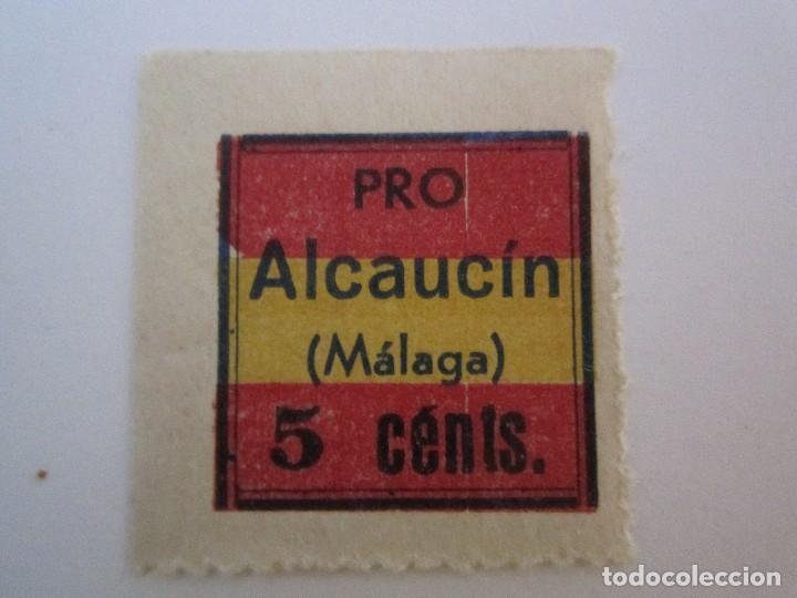 SELLO BENEFICENCIA PRO ALCAUCIN 5 CENTIMOS MUY ESCASO (Sellos - España - Guerra Civil - Beneficencia)
