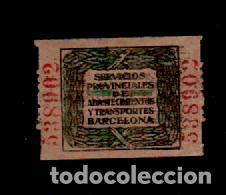 0099 GUERRA CIVIL BARCELONA - SERVICIOS PROVINCIALES DE ABASTECIMIENTOS Y TRANSPORTES - FESOFI Nº 12 (Sellos - España - Guerra Civil - Viñetas - Usados)