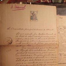 Sellos: ADMINISTRACIÓN PRINCIPAL DE CORREOS ALICANTE 1933 - SOLICITUD - ALMORADÍ, ALGORFA Y BENEJUZAR-. Lote 63085260