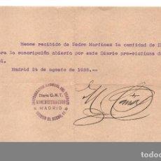 Sellos: MADRID, C.N.T. SUSCRIPCION DIARIO PRO-VICTIMAS DEL FASCIO, FECHA. 24 AGOSTO 1936, VER FOTO. Lote 63297176