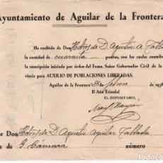 Sellos: AGUILAR DE LA FRONTERA, SUSCRIPCION AUXILIO DE POBLACIONES LIBERADA, VER FOTO. Lote 63298984