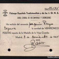 Sellos: MADRID, 25 PTAS, IMPORTE DE LA MEDALLA DE LA VIEJA GUARDIA, VER FOTO. Lote 63300024
