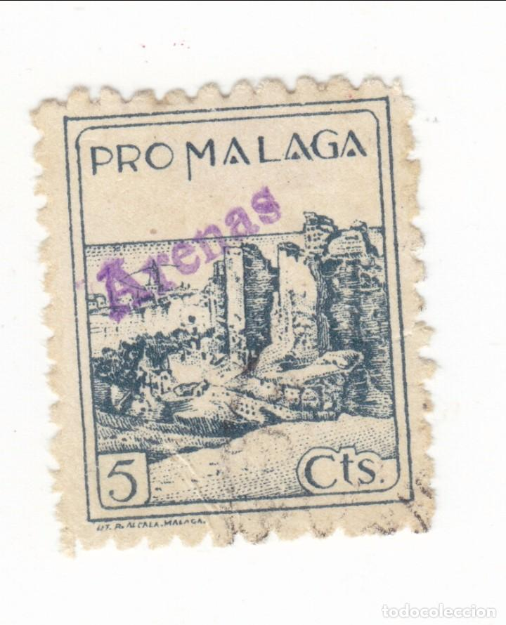 SELLO BENEFICIENCIA PRO-MALAGA CON SOBREGARGA ARENAS (Sellos - España - Guerra Civil - Beneficencia)