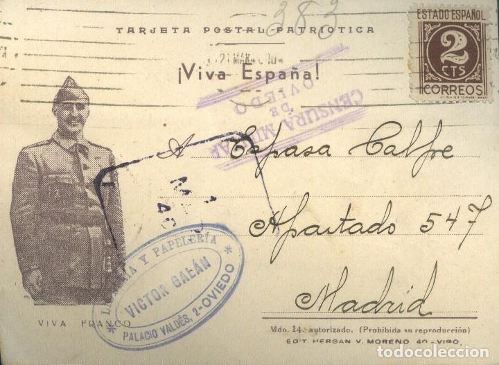 TARJETA PSOTAL PATRIOTICA. CENSURA MILITAR OVIEDO.GUERRA CIVIL (Sellos - España - Guerra Civil - De 1.936 a 1.939 - Cartas)