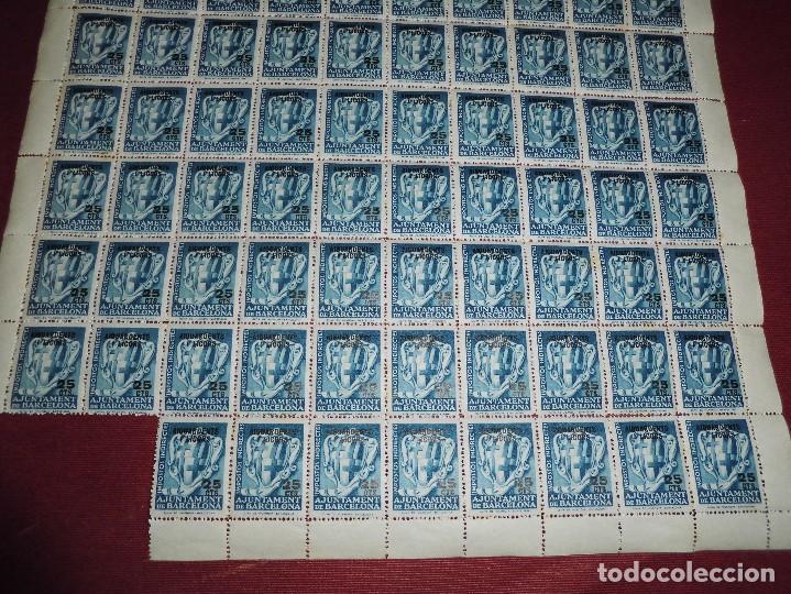 Sellos: pliego de 88 viñetas antiguas,impostos indirectes ajuntament barcelona 25cts aiguardents i licors - Foto 2 - 65418227