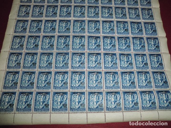 Sellos: pliego de 100 viñetas antiguas,impostos indirectes ajuntament barcelona 20cts aiguardents i licors - Foto 2 - 65420079