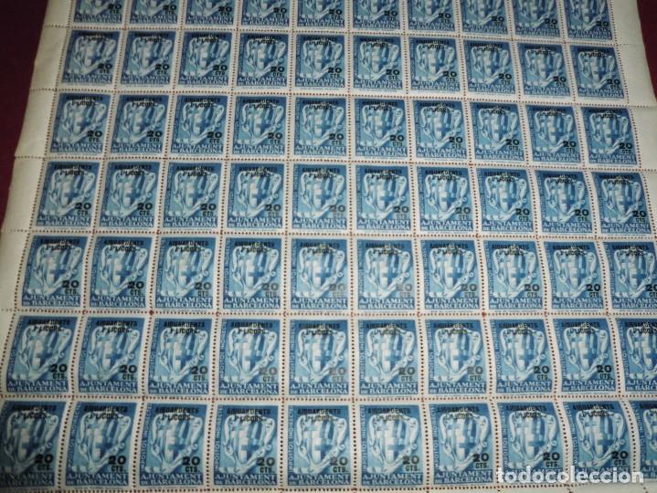 Sellos: pliego de 100 viñetas antiguas,impostos indirectes ajuntament barcelona 20cts aiguardents i licors - Foto 2 - 65420779