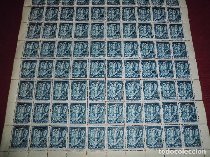 Sellos: pliego de 100 viñetas antiguas,impostos indirectes ajuntament barcelona 25cts aiguardents i licors - Foto 2 - 65421059