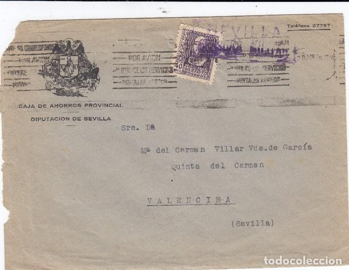 0002 SOBRE CIRCULADO SEVILLA VALENCINA CENSURA MILITAR (Sellos - España - Guerra Civil - De 1.936 a 1.939 - Cartas)