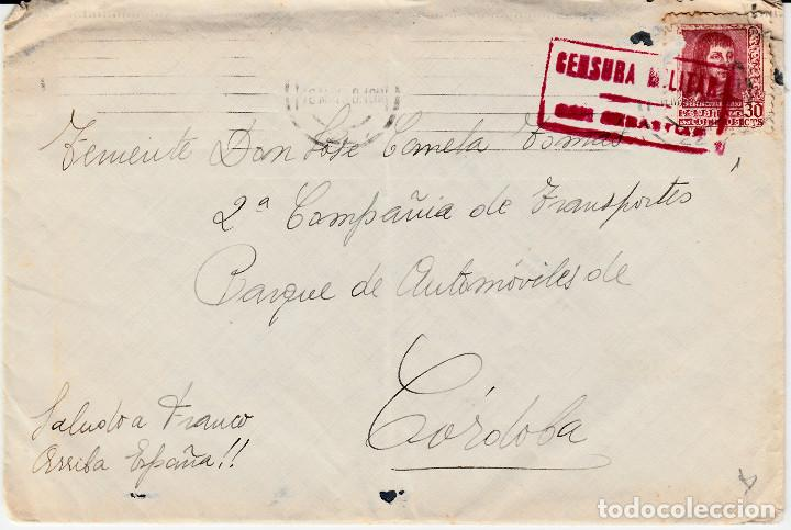 CARTA GUERRA CIVIL CON CENSURA MILITAR DE SAN SEBASTIAN DIRIGIDA A CÓRDOBA- (Sellos - España - Guerra Civil - De 1.936 a 1.939 - Cartas)