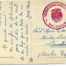 Sellos: 1939 TR. CIRCULADA CON FRANQUICIA DEL GOVIERNOMILITAR DE VALENCIA, DIRIGIDA A BARCELONA . Lote 66807074