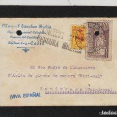 Sellos: TARJETA COMERCIAL- RMTE MANUEL SANCHEZ RUBIO A.COMERCIAL CÀDIZ AÑO 1937 CORREOS .. CENSURA MILITAR. Lote 66983966