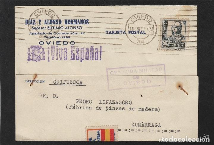 TARJETA COMERCIAL - DIAZ ALONSO ,EUTEMIO- OVIEDO (ASTURIAS) 1938 CENSURA MILITAR OVIEDO ,VIVA ESPAÑA (Sellos - España - Guerra Civil - De 1.936 a 1.939 - Cartas)