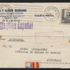 Sellos: TARJETA COMERCIAL - DIAZ ALONSO ,EUTEMIO- OVIEDO (ASTURIAS) 1938 CENSURA MILITAR OVIEDO ,VIVA ESPAÑA. Lote 66984306