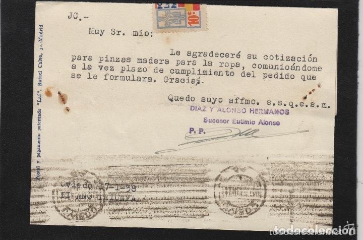 Sellos: TARJETA COMERCIAL - DIAZ ALONSO ,EUTEMIO- OVIEDO (ASTURIAS) 1938 CENSURA MILITAR OVIEDO ,VIVA ESPAÑA - Foto 2 - 66984306
