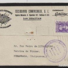 Sellos: TARJETA COMERCIAL- ACUMULADORES OXIVOL CARBURADOR - SAN SEBASTIÁN ( GUIPUZCOA ) 1939 CENSURA MILITAR. Lote 66984894
