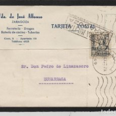 Sellos: TARJETA COMERCIAL -VDA.JOSÉ ALONSO FERRETERÍA ZARAGOZA 1937 CENSURA MILITAR MARCA II AÑO TRIUNFAL. Lote 66985246