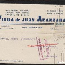 Sellos: TARJETA COMERCIAL -VIUDA JUAN ARANZABAL , SAN SEBASTIÁN (GUIPUZCOA) 1937 CENSURA MILITAR. Lote 66985498