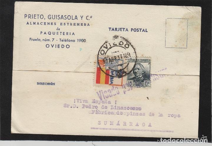 TARJETA COMERCIAL - PRIETO GUISASOLA ALMACENES ESTREMERA- OVIEDO (ASTURIAS) 1937 VISADO POR CENSURA (Sellos - España - Guerra Civil - De 1.936 a 1.939 - Cartas)