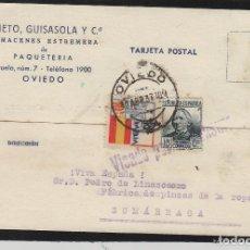 Sellos: TARJETA COMERCIAL - PRIETO GUISASOLA ALMACENES ESTREMERA- OVIEDO (ASTURIAS) 1937 VISADO POR CENSURA. Lote 66986470