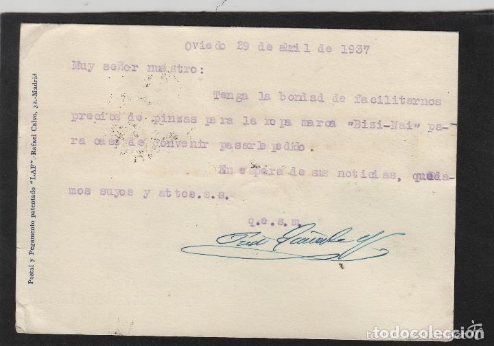 Sellos: TARJETA COMERCIAL - PRIETO GUISASOLA almacenes ESTREMERA- OVIEDO (ASTURIAS) 1937 VISADO POR CENSURA - Foto 2 - 66986470