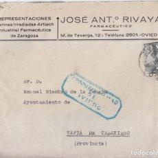 Sellos: SOBRE CONSERVA LA CARTA DE OVIEDO A TAPIA DE CASARIEGO. ASTURIAS 1941. CENSURA MILITAR. Lote 67418133