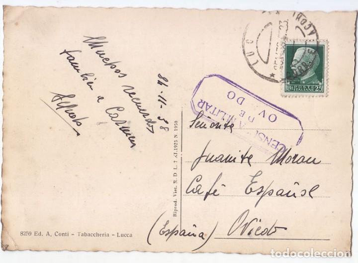 POSTAL DE ITALIA A OVIEDO. ASTURIAS. AL CAFÉ ESPAÑOL. CENSURA MILITAR 1938 (Sellos - España - Guerra Civil - De 1.936 a 1.939 - Cartas)