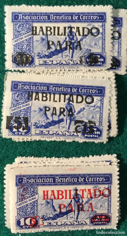 ASOCIACIÓN BENÉFICA DE CORREOS. HABILITADOS CON DIFERENTES HABILITACIONES (Sellos - España - Guerra Civil - Beneficencia)