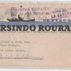 Sellos: VAPORES DE PESCA GUMERSINDO ROURA. VIÑETA PRO TUBERCULOSOS. CENSURA MILITAR LA CORUÑA.. Lote 67573389