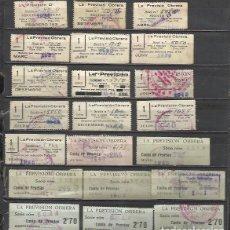 Sellos: 5129-COLECCION LOTE CUOTAS LA PREVISION OBRERA,1935-1954.CATALAN Y CASTELLANO.ALGUNOS CON SOBRECARGA. Lote 67575973