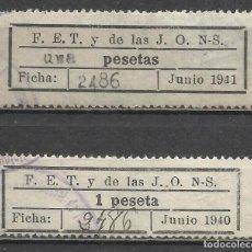 Sellos: 5130-2 SELLOS GUERRA CIVIL FALANGE ESPAÑOLA 1940/1 DIFERENTES UNA PESETAS T 1 PESETA F.E.T. Y DE LAS. Lote 67582277