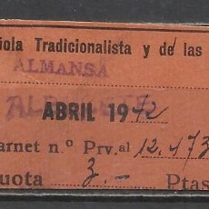 Sellos: 5142-2 PTS SELLO CUOTA FALANGE ESPAÑOLA ALMANSA,ALBACETE 1942.SPAIN REVENUE.ESPAGNE GUERRE.SPAIN POL. Lote 67640525