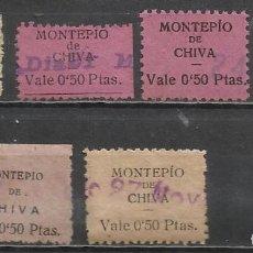 Selos: 5149-COLECCION SELLOS MONTEPIO CHIVA,VALENCIA,DIFERENTES ERRORES TIPOGRAFICOS,ESPAÑA GUERRA CIVIL,FI. Lote 67707137