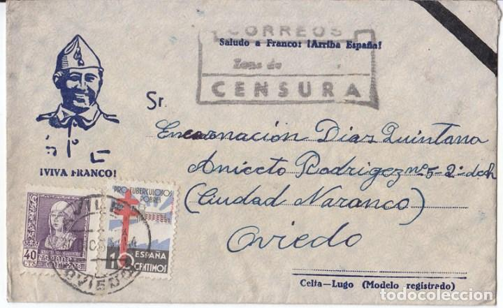 SOBRE DE AVILÉS. ASTURIAS. CENSURA MILITAR. SELLO PROTUBERCULOSOS. 1938 (Sellos - España - Guerra Civil - De 1.936 a 1.939 - Cartas)