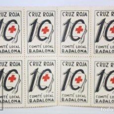 Sellos: CONJUNTO DE 8 VIÑETAS - CRUZ ROJA. COMITÉ LOCAL DE BADALONA - 10 - MEDIDAS 2,5 X 4 CM. Lote 70134549