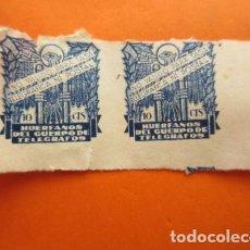 Sellos: HUERFANOS DEL CUERPO DE TELEGRAFOS - 10 CENTIMOS USADO DOBLE. Lote 70447917