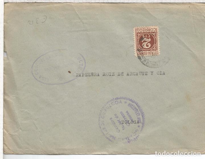 GUERRA CIVIL SAN SEBASTIAN A TOLOSA CON CENSURA MILITAR PRENSA (Sellos - España - Guerra Civil - De 1.936 a 1.939 - Cartas)