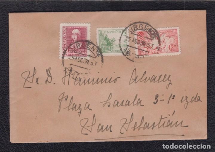1939.- madrid a san sebastian - Sevilla - 1939.- madrid a san sebastian. Carta circulada con sellos cid, isabel - Sevilla