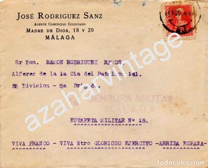 SOBRE CON SELLO PRO MÁLAGA 1938 CON CENSURA MILITAR , VER IMAGENES (Sellos - España - Guerra Civil - De 1.936 a 1.939 - Cartas)