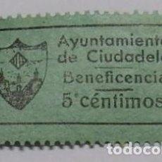 Sellos: CIUDADELA - VIÑETA BENEFICENCIA 5 CÉNTIMOS - MENORCA. Lote 74101735