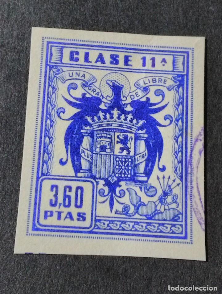 SELLO/TIMBRE. FISCAL DE CLASE 11. 3,60 PTAS (Sellos - España - Guerra Civil - Viñetas - Usados)