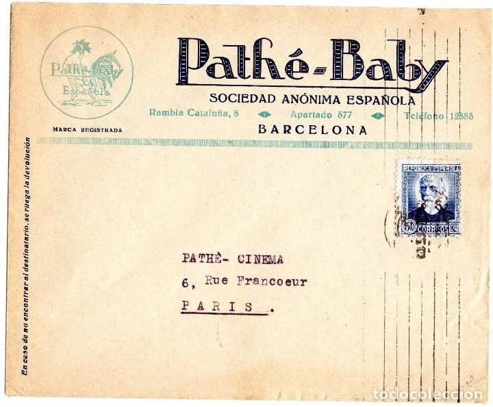 PATHÉ BABY ESPAÑOLA - CARTA IMPRESA BARCELONA SEGUNDA REPUBLICA ESPAÑOLA - A PARIS (Sellos - España - Guerra Civil - De 1.936 a 1.939 - Cartas)