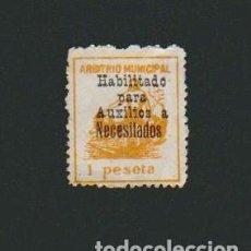 Sellos: CÁDIZ.ARBITRIO MUNICIPAL.1 PESETA.HABILITADO PARA AUXILIOS A NECESITADOS.. Lote 74376911