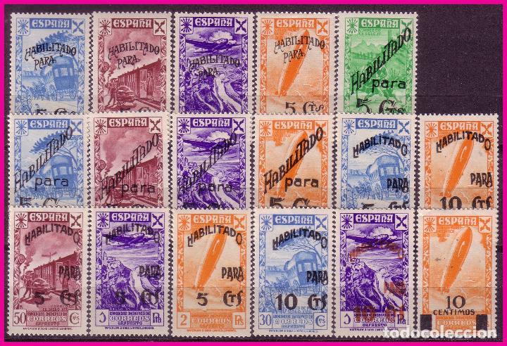 BENEFICENCIA 1940 SELLOS 21 A 26 HABILITADOS CON NUEVO VALOR, EDIFIL Nº 36 A 52 * * COMPLETA, LUJO (Sellos - España - Guerra Civil - Beneficencia)