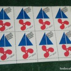 Sellos: BLOQUE 8 VIÑETAS SALON NAUTICO INTERNACIONAL 1967. Lote 75024479